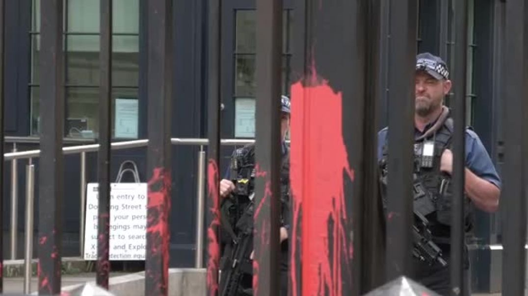 Red Paint thrown at Downing Street - BoJo has blood on his hands and the people know it