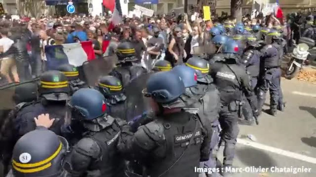 FRANCE: MACRON'S MINIONS TRYING TO DISRUPT MARCH & SPRAYING TEAR GAS INTO CROWD!