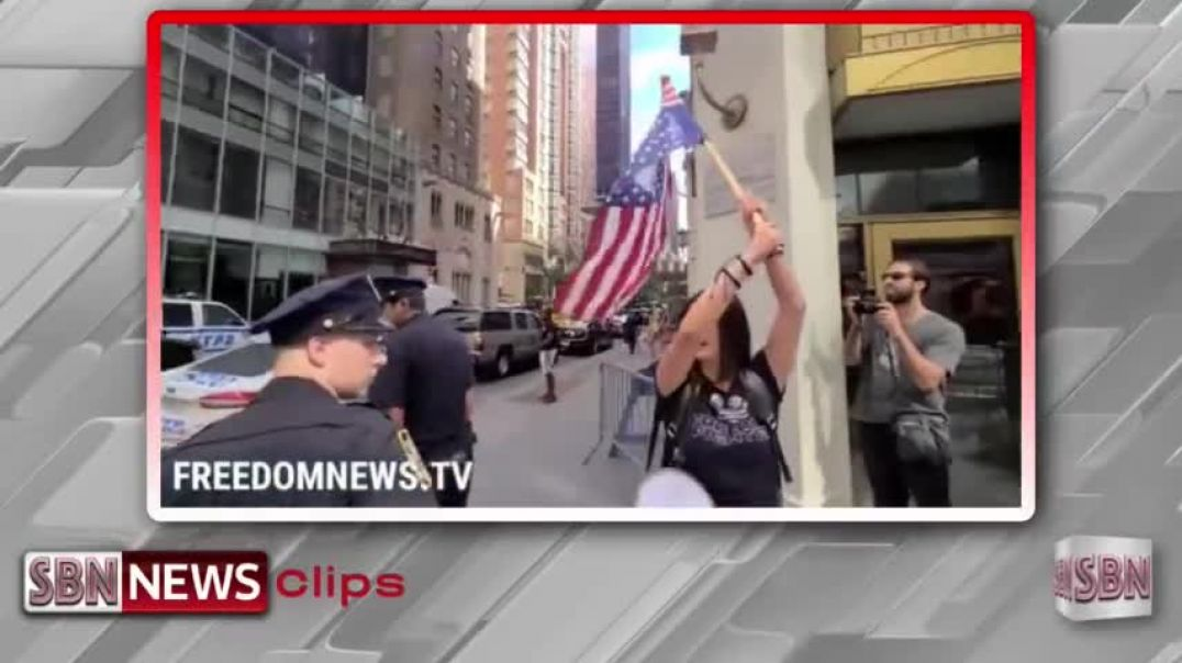 NYC: Protesters Holding Upside Down American Flag