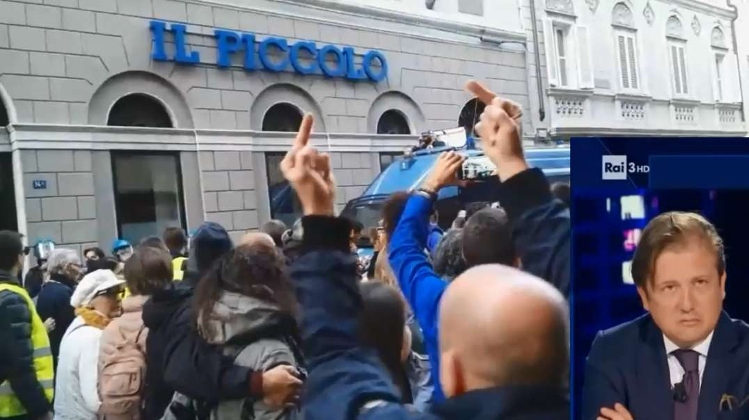 Italy Trieste Oct 11th Large Freedom No Green Pass March Walks by IL Piccolo Newspaper Media