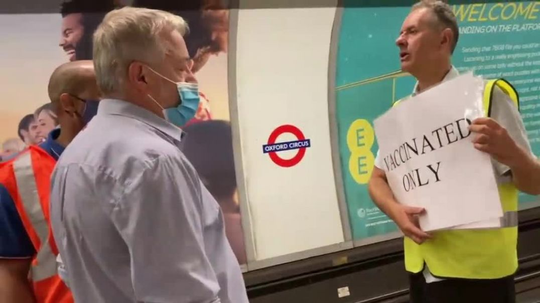 Separating the vaxxed from the unvaxxed on the London Underground train - parody