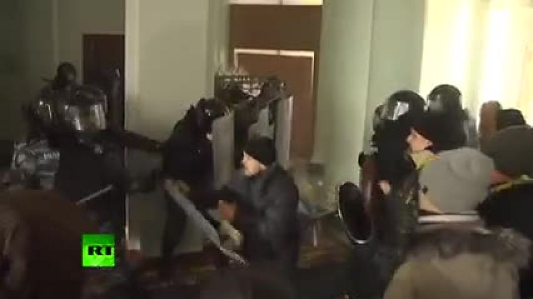 Violent video Ukraine rioters brutally beat police, storm local admin building  SEE DISCRIPTION