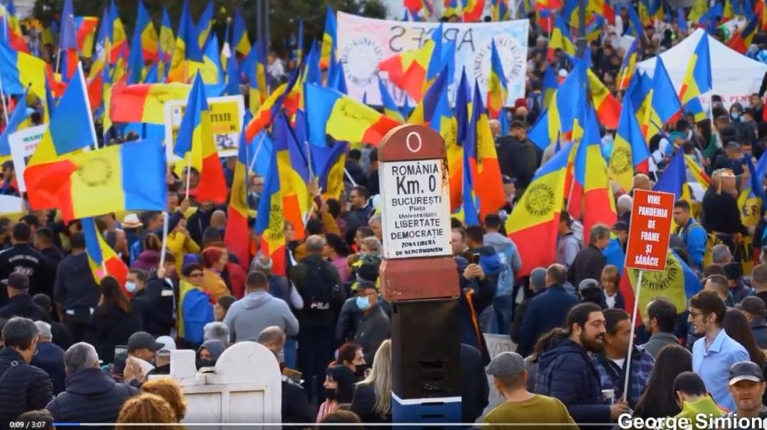 Romania Bucharest Oct 2nd No Green Pass Protest March Freedom Rally Covid-19 Vaccines