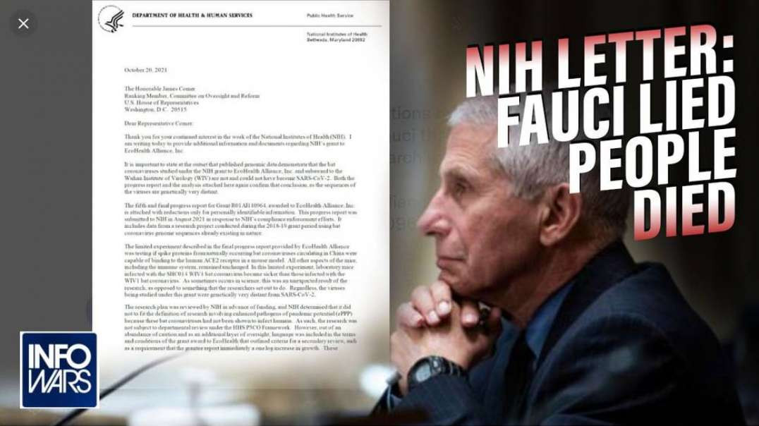 Breaking! NIH Letter Shows Fauci Lied to Congress Over Funded Gain-of-Function Research at Wuhan Lab