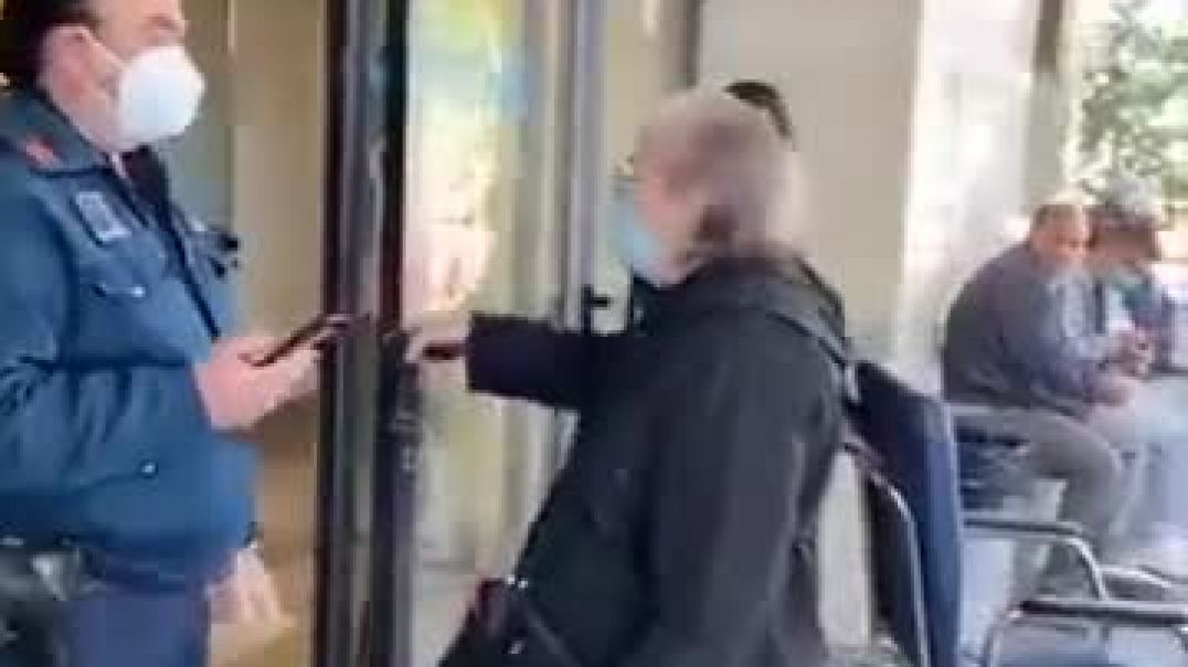 Big brave man stopping an old lady getting in the hospital with no vax