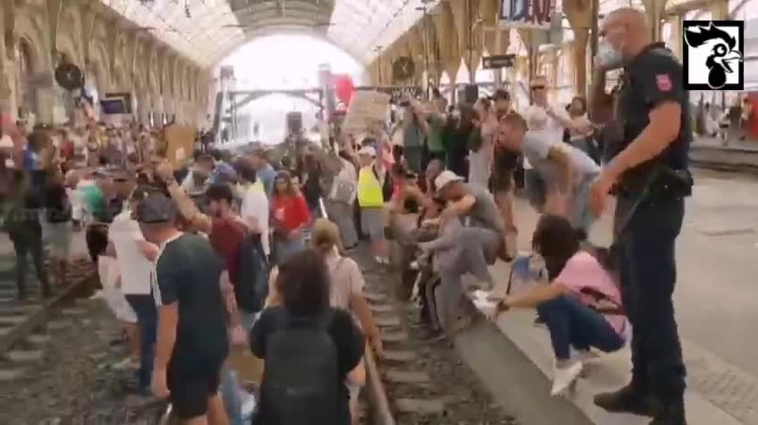 NICE ANTI-VAxx PROTESTERS INVADED THE TRAIN STATION
