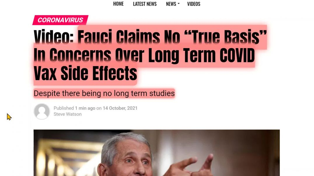 """Fauci Says: No """"True Basis"""" For Claims Of Long Term Adverse Effects From Vaccine - Let Him"""