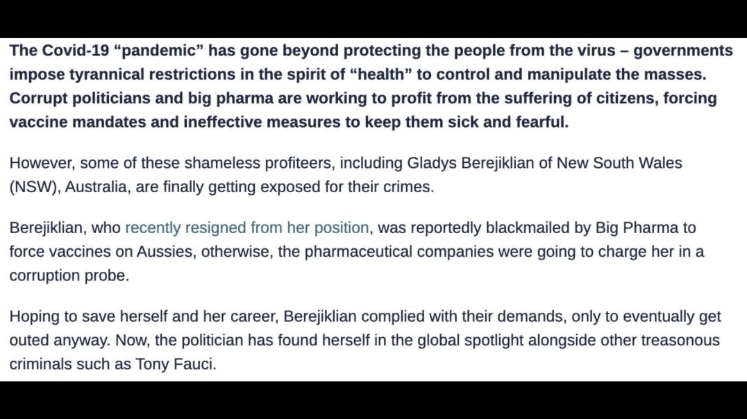 SHOCKING Allegation: Gladys was Blackmailed by Big Pharma to Impose Covid-19 Vaccine Mandate